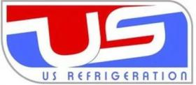 US Refigeration logo, text: US Refrigeration with blue and red decoration